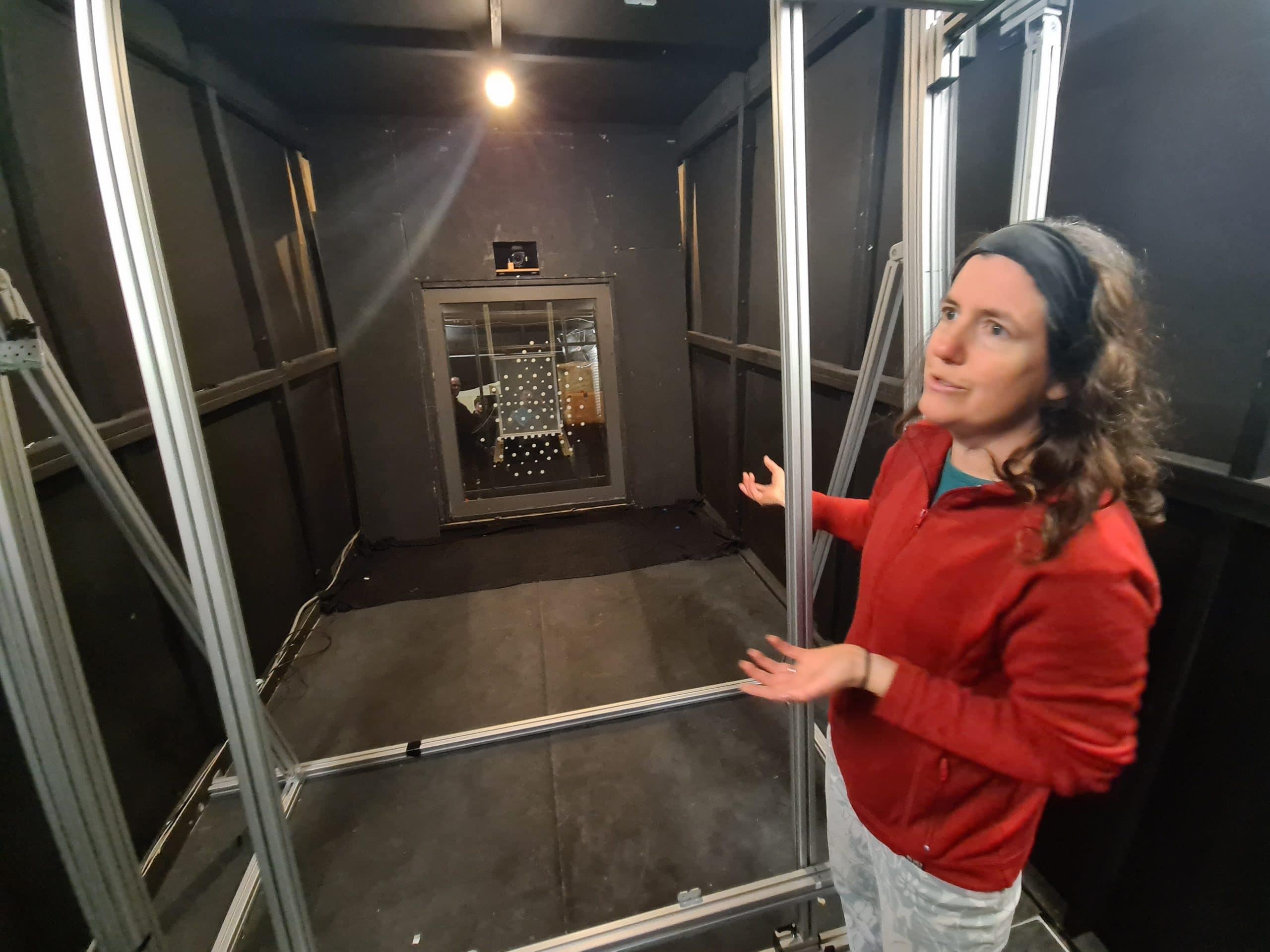 Michelle McCann Explaining the EL Imaging Set-Up