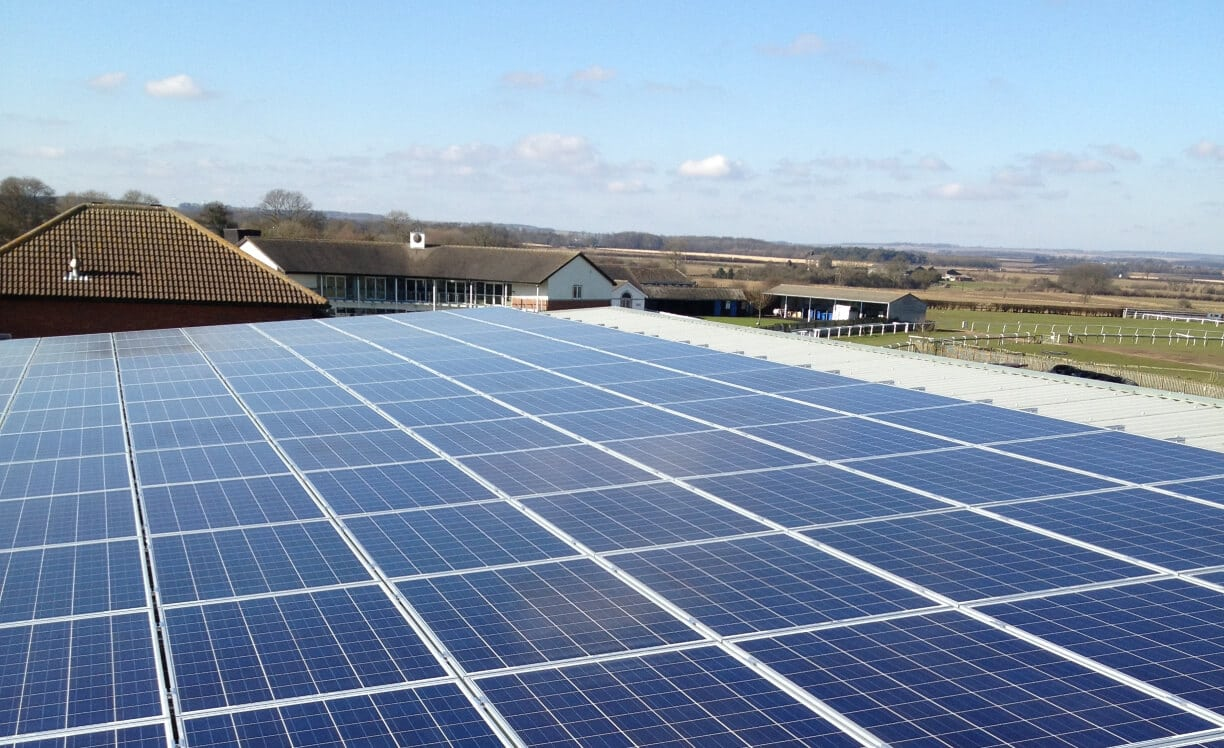 50 kW rooftop commercial solar installation on Beverley Racecourse in Yorkshire