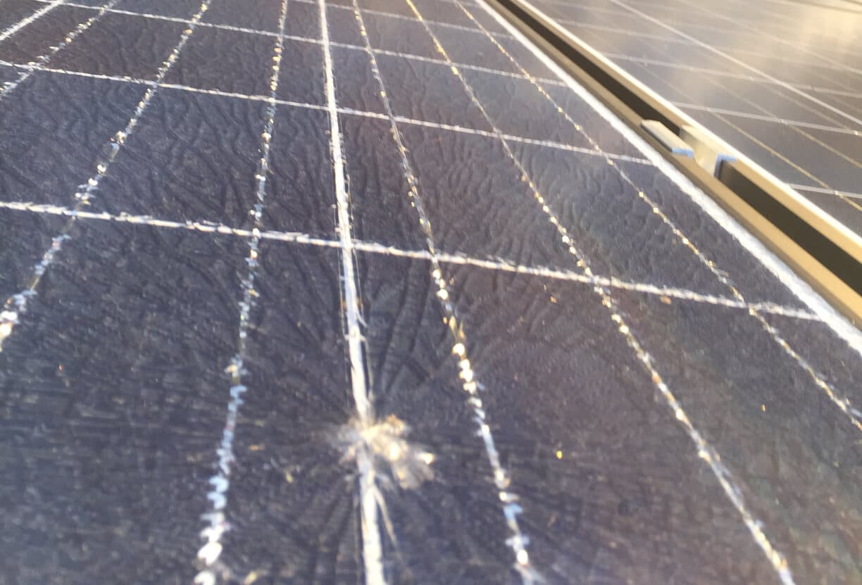 broken glass solar panel